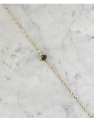 Bracelet Acier Doré Onyx