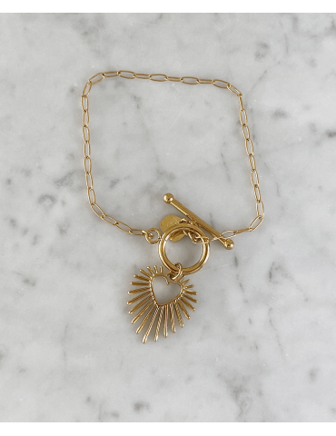 Bracelet Acier Doré Cœur...