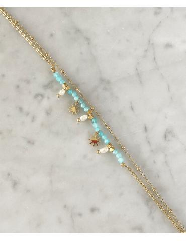 Bracelet Acier Doré Amazonite