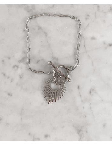 Bracelet Acier Cœur Soleil